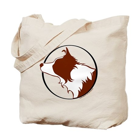 Border Collie Head R&W Tote Bag
