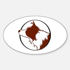 Border Collie Head R&W Oval Decal