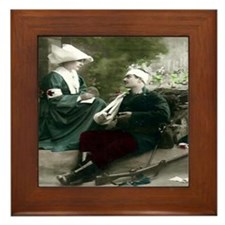 NURSE WITH SOLDIER IN THE FIE Framed Tile