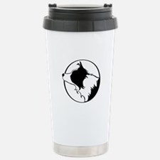 Border Collie Head B&W Stainless Steel Travel Mug