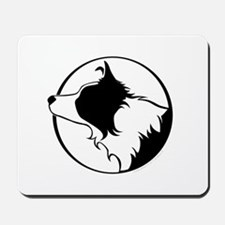 Border Collie Head B&W Mousepad