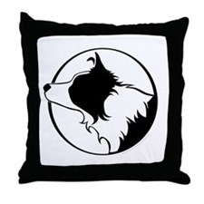 Border Collie Head B&W Throw Pillow