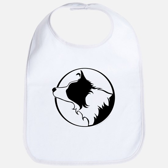Border Collie Head B&W Bib