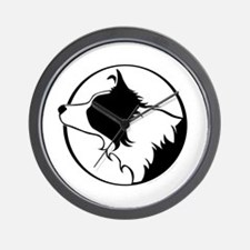 Border Collie Head B&W Wall Clock