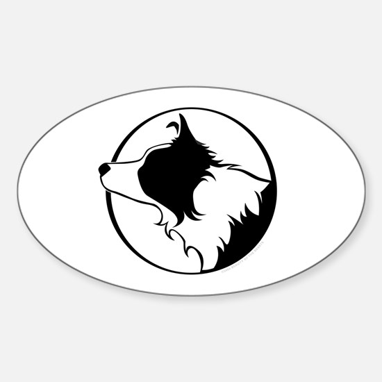 Border Collie Head B&W Oval Decal