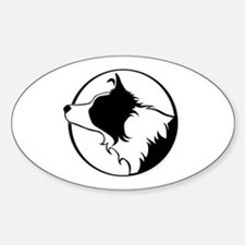 Border Collie Head B&W Oval Stickers