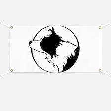 Border Collie Head B&W Banner