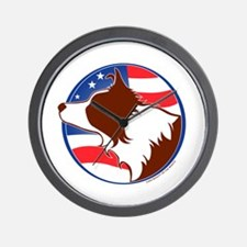 Border Collie R&W Flag Wall Clock