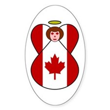 Canadian Flag Angel Oval Decal