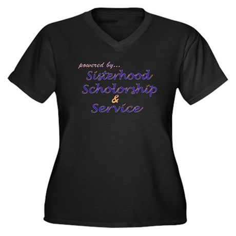 Powered by SGRho Women's Plus Size V-Neck Dark T-S