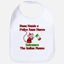 Salvatore the Italian Christmas Mouse Bib