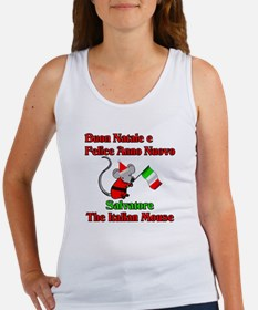 Salvatore the Italian Christmas Mouse Women's Tank