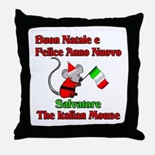 Salvatore the Italian Christmas Mouse Throw Pillow
