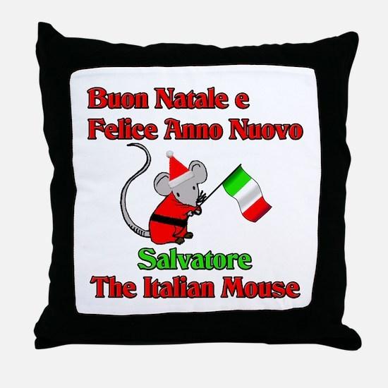Salvatore the Italian Christmas Mouse Throw Pillow