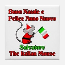 Salvatore the Italian Christmas Mouse Tile Coaster