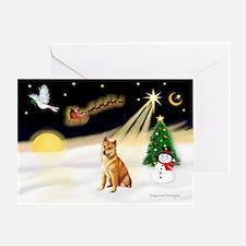 Night Flight/Shiba Inu #7 Greeting Card