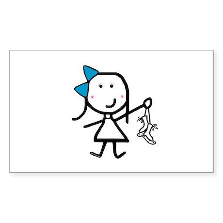 Girl & Ice Skating Rectangle Sticker 10 pk)