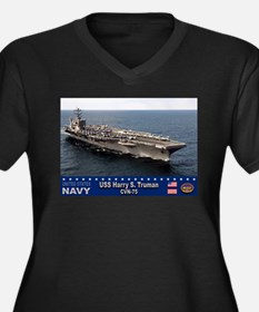 USS Harry S. Truman CVN-75 Women's Plus Size V-Nec