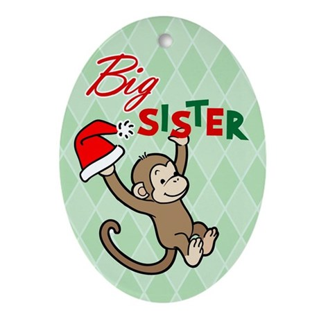 Big Sister Christmas Monkey Oval Ornament