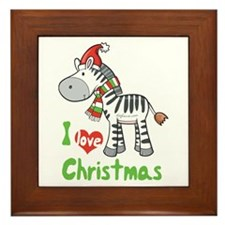I Love Christmas Zebra Framed Tile
