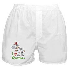I Love Christmas Zebra Boxer Shorts