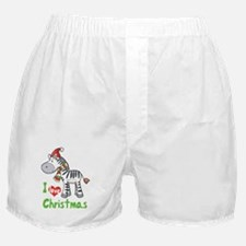 I Love Christmas Zebra Boxer Shorts