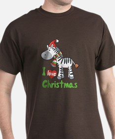 I Love Christmas Zebra T-Shirt