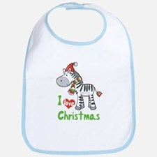 I Love Christmas Zebra Bib