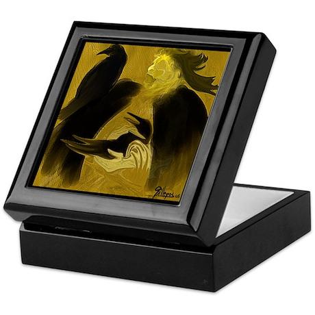 SHAMAN CAPTURING CROW SPIRIT -Ceramic Keepsake Box
