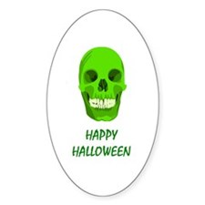 Green Skull Oval Decal