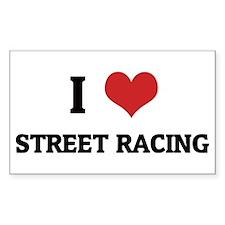 I Love Street Racing Rectangle Decal