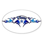Blue Obama Tattoo Oval Sticker (10 pk)