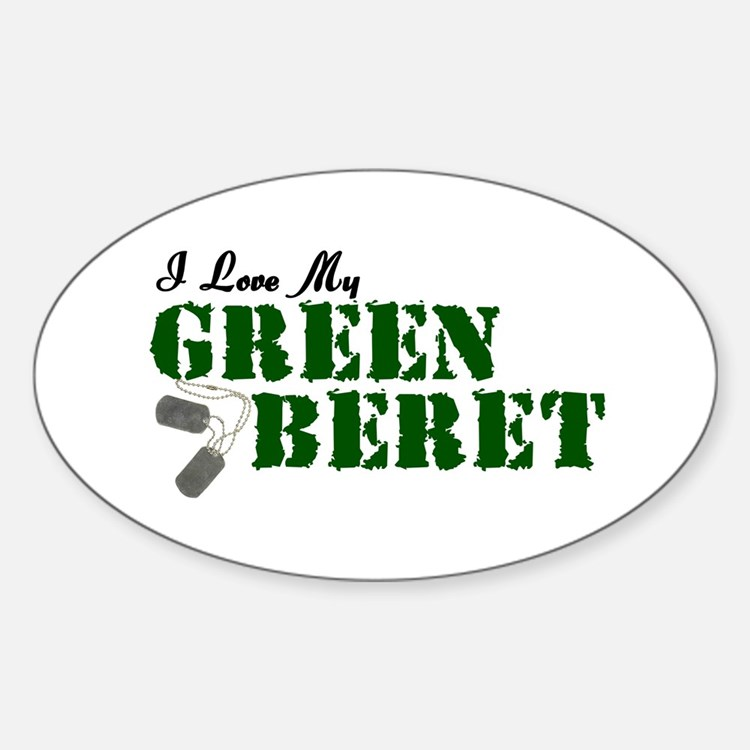 I Love My Green Beret Oval Decal