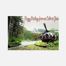 Holiday Helicopter Cabin Rectangle Magnet