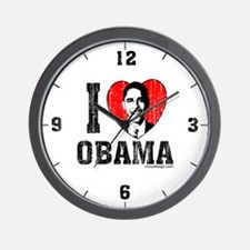 I Love Obama Wall Clock