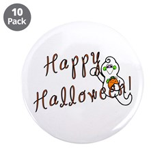 """Happy Halloween Ghost 3.5"""" Button (10 pack)"""
