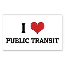 I Love Public Transit Rectangle Decal