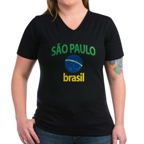 Sao Paulo Women's V-Neck Dark T-Shirt