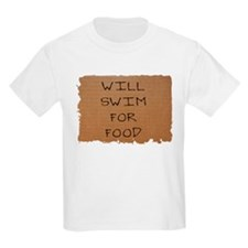 Will Swim for Food Kids T-Shirt
