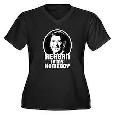 Ronald Reagan Is My Homeboy Women's Plus Size V-Ne