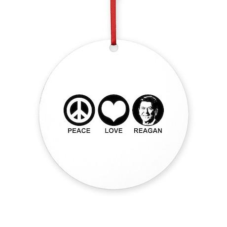 Peace Love Reagan Ornament (Round)
