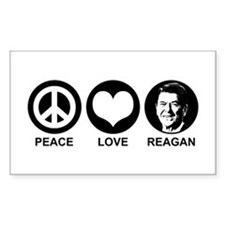 Peace Love Reagan Rectangle Decal