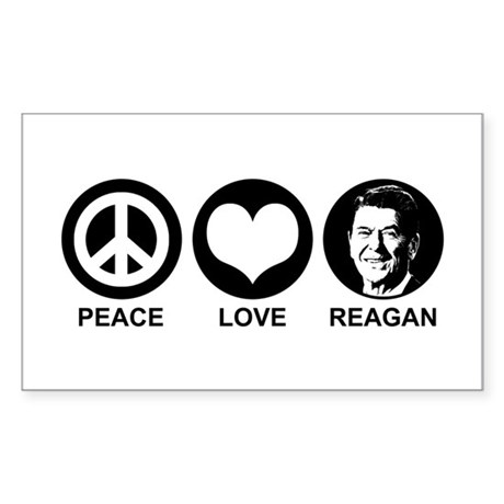 Peace Love Reagan Rectangle Sticker