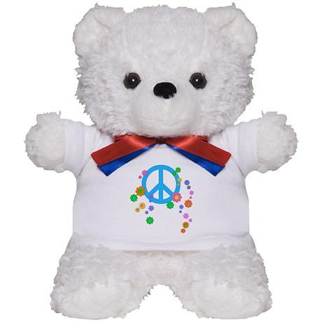 Peace sign and Flowers Teddy Bear