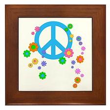 Peace Love Flowers Framed Tile
