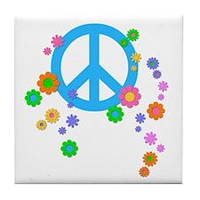 Peace Love Flowers Tile Coaster
