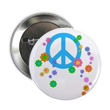 "Peace Love Flowers 2.25"" Button"