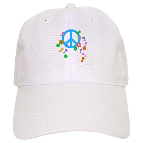 Peace sign and Flowers Cap