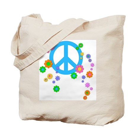 Peace sign and Flowers Tote Bag