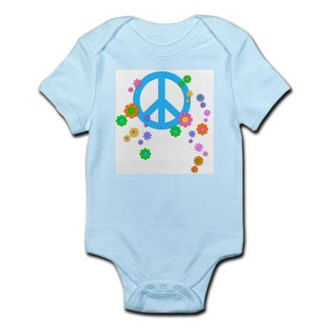 Peace sign and Flowers Infant Bodysuit